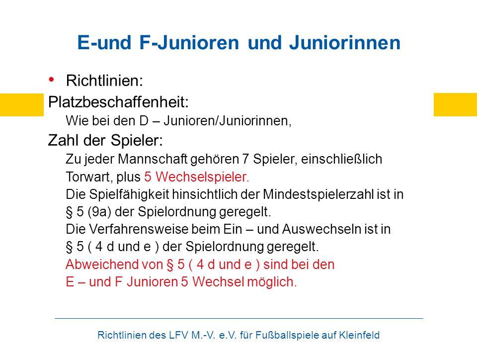 Richtlinien des LFV M.-V. e.V. für Fußballspiele auf Kleinfeld E-und F-Junioren und Juniorinnen Richtlinien: Platzbeschaffenheit: Wie bei den D – Juni