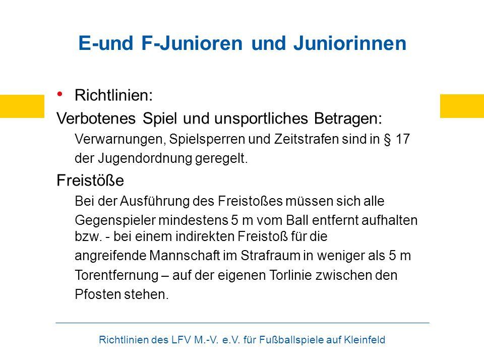 Richtlinien des LFV M.-V. e.V. für Fußballspiele auf Kleinfeld E-und F-Junioren und Juniorinnen Richtlinien: Verbotenes Spiel und unsportliches Betrag
