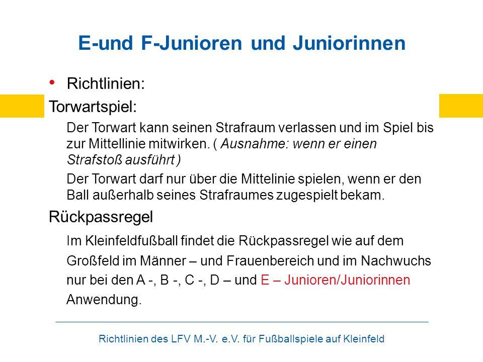 Richtlinien des LFV M.-V. e.V. für Fußballspiele auf Kleinfeld E-und F-Junioren und Juniorinnen Richtlinien: Torwartspiel: Der Torwart kann seinen Str