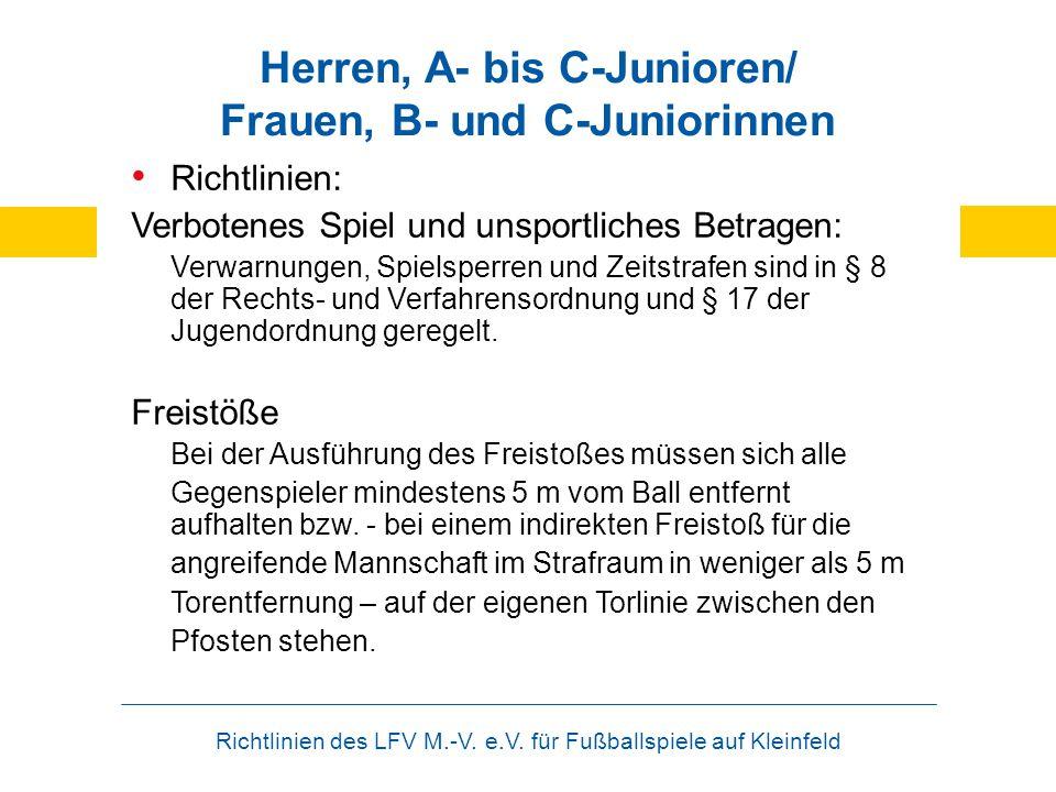 Richtlinien des LFV M.-V. e.V. für Fußballspiele auf Kleinfeld Herren, A- bis C-Junioren/ Frauen, B- und C-Juniorinnen Richtlinien: Verbotenes Spiel u