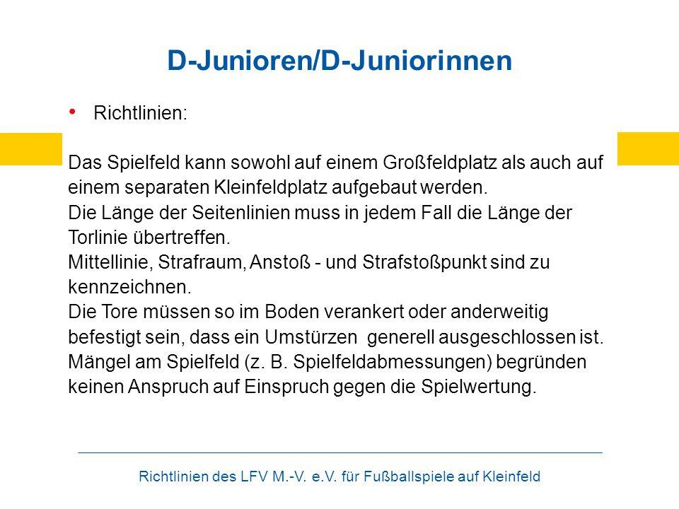 Richtlinien des LFV M.-V. e.V. für Fußballspiele auf Kleinfeld D-Junioren/D-Juniorinnen Richtlinien: Das Spielfeld kann sowohl auf einem Großfeldplatz