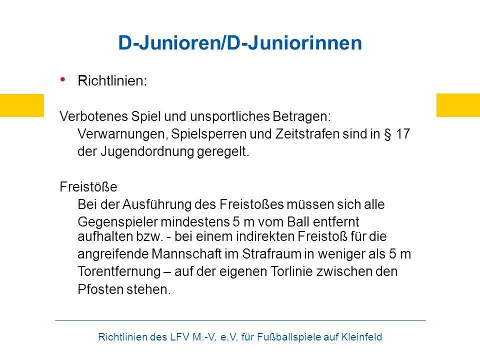 Richtlinien des LFV M.-V. e.V. für Fußballspiele auf Kleinfeld D-Junioren/D-Juniorinnen Richtlinien: Verbotenes Spiel und unsportliches Betragen: Verw