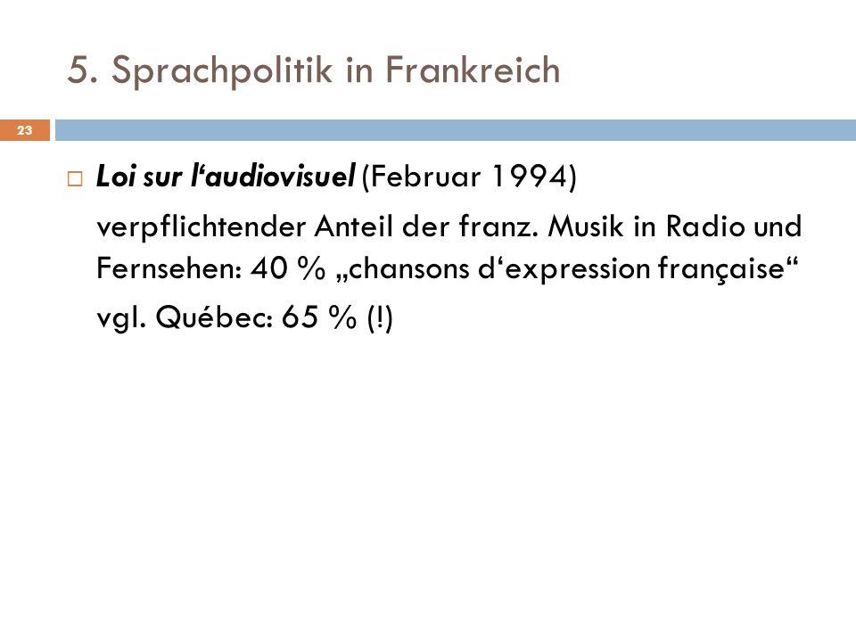 """5. Sprachpolitik in Frankreich  Loi sur l'audiovisuel (Februar 1994) verpflichtender Anteil der franz. Musik in Radio und Fernsehen: 40 % """"chansons d"""