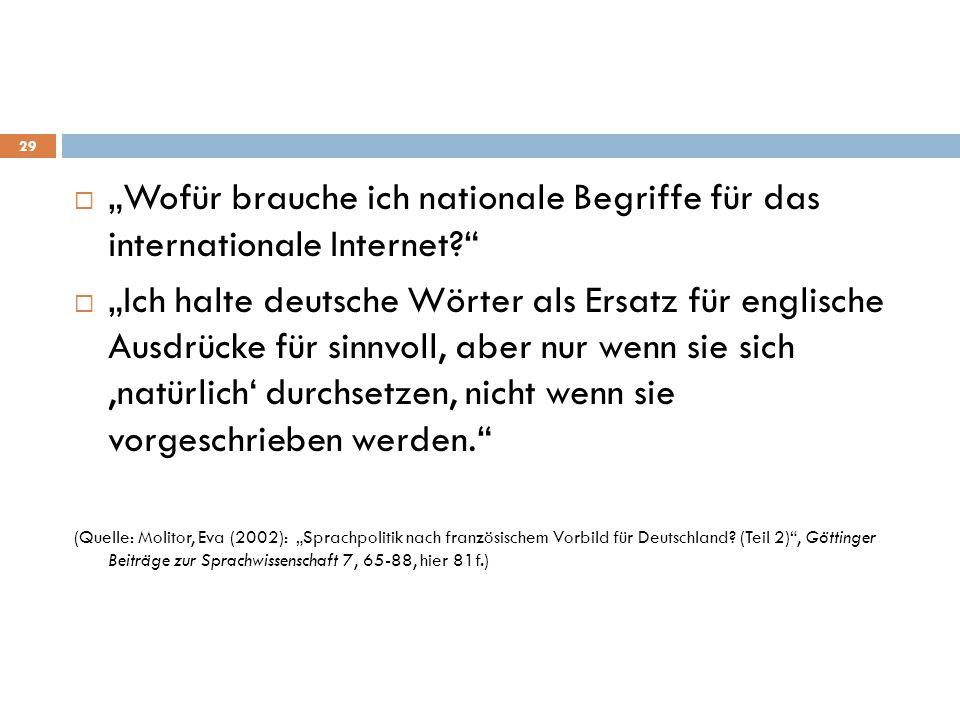 """ """"Wofür brauche ich nationale Begriffe für das internationale Internet?""""  """"Ich halte deutsche Wörter als Ersatz für englische Ausdrücke für sinnvoll"""