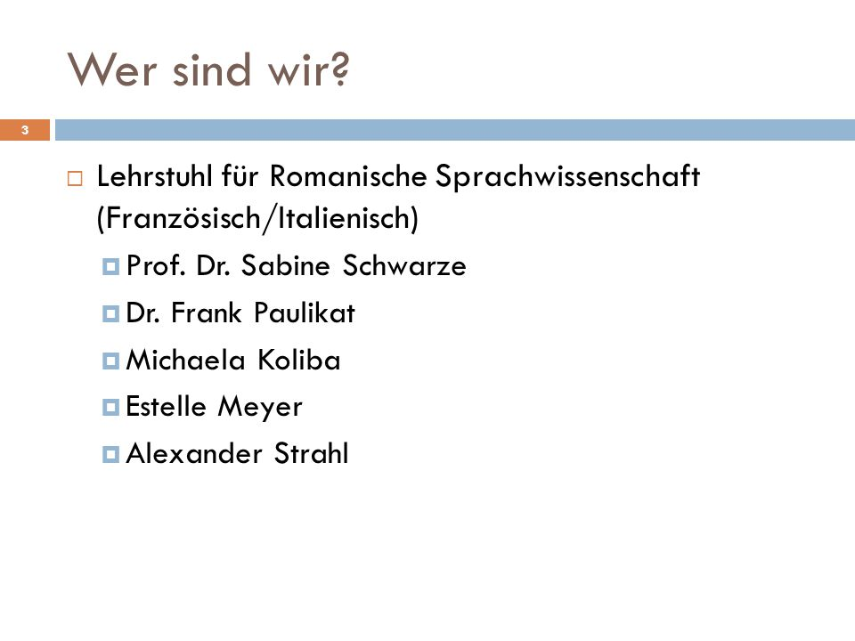 Wer sind wir?  Lehrstuhl für Romanische Sprachwissenschaft (Französisch/Italienisch)  Prof. Dr. Sabine Schwarze  Dr. Frank Paulikat  Michaela Koli