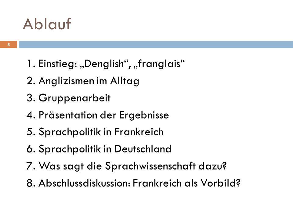 """Ablauf 1. Einstieg: """"Denglish"""", """"franglais"""" 2. Anglizismen im Alltag 3. Gruppenarbeit 4. Präsentation der Ergebnisse 5. Sprachpolitik in Frankreich 6."""