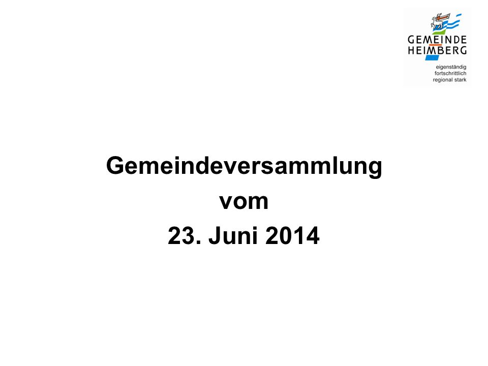 Gemeindeversammlung vom 23. Juni 2014