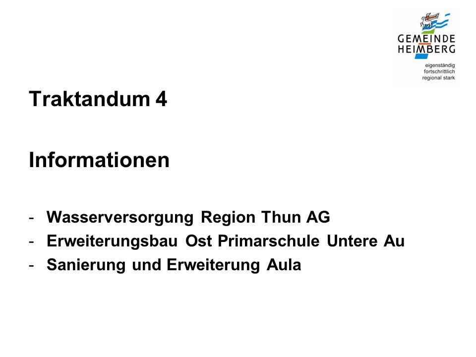 Traktandum 4 Informationen -Wasserversorgung Region Thun AG -Erweiterungsbau Ost Primarschule Untere Au -Sanierung und Erweiterung Aula