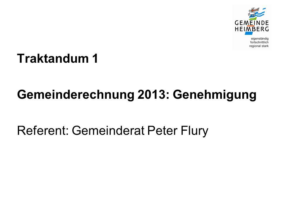 Traktandum 1 Gemeinderechnung 2013: Genehmigung Referent: Gemeinderat Peter Flury