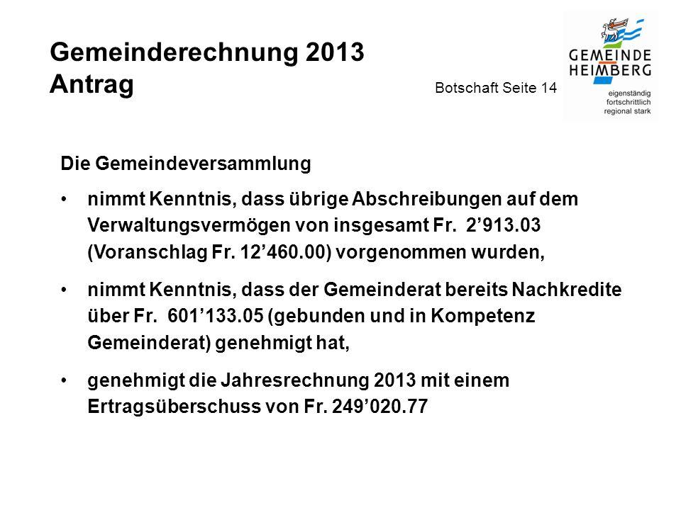 Gemeinderechnung 2013 Antrag Botschaft Seite 14 Die Gemeindeversammlung nimmt Kenntnis, dass übrige Abschreibungen auf dem Verwaltungsvermögen von insgesamt Fr.