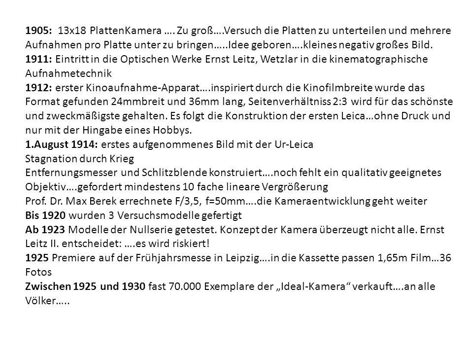 1905: 13x18 PlattenKamera ….
