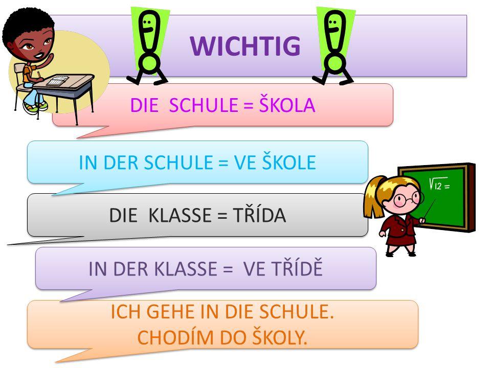 WICHTIG der Lehrer = učitel die Lehrerin = učitelka der Schüler = žák die Schülerin = žákyně der Mitschüler = spolužák die Mitschülerin = spolužačka das Schulfach = školní předmět das Schulfach = školní předmět die Schulfächer = školní předměty die Schulfächer = školní předměty der Unterricht = vyučování die Pause = přestávka lernen = učit se