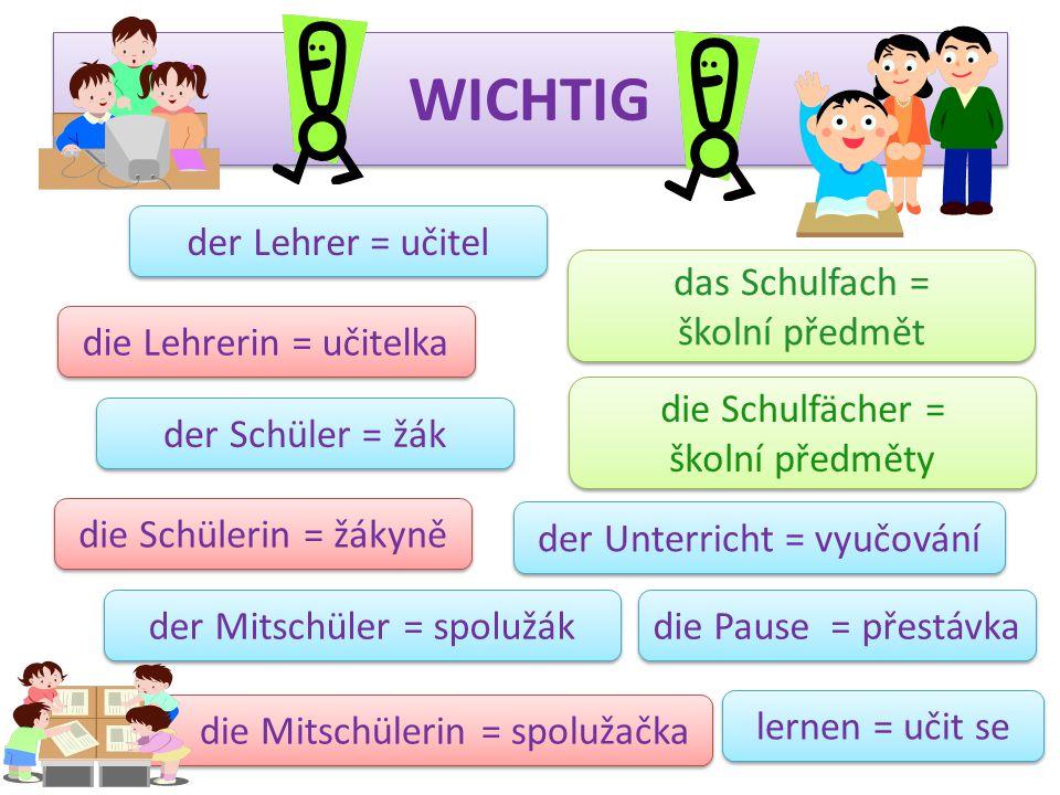 WICHTIG der Lehrer = učitel die Lehrerin = učitelka der Schüler = žák die Schülerin = žákyně der Mitschüler = spolužák die Mitschülerin = spolužačka d