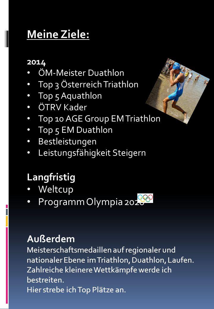 Meine Ziele: 2014 ÖM-Meister Duathlon Top 3 Österreich Triathlon Top 5 Aquathlon ÖTRV Kader Top 10 AGE Group EM Triathlon Top 5 EM Duathlon Bestleistu