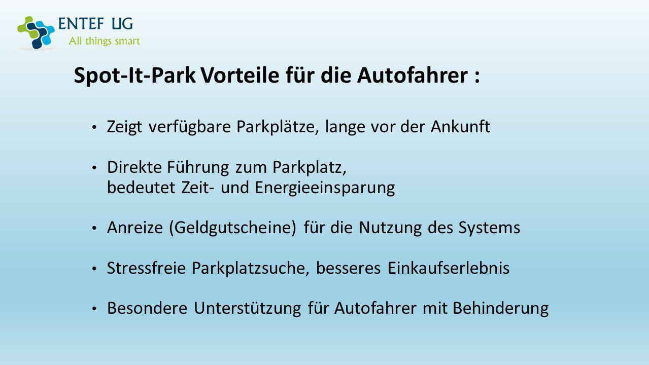 Spot-It-Park Vorteile für die Autofahrer : Zeigt verfügbare Parkplätze, lange vor der Ankunft Direkte Führung zum Parkplatz, bedeutet Zeit- und Energi