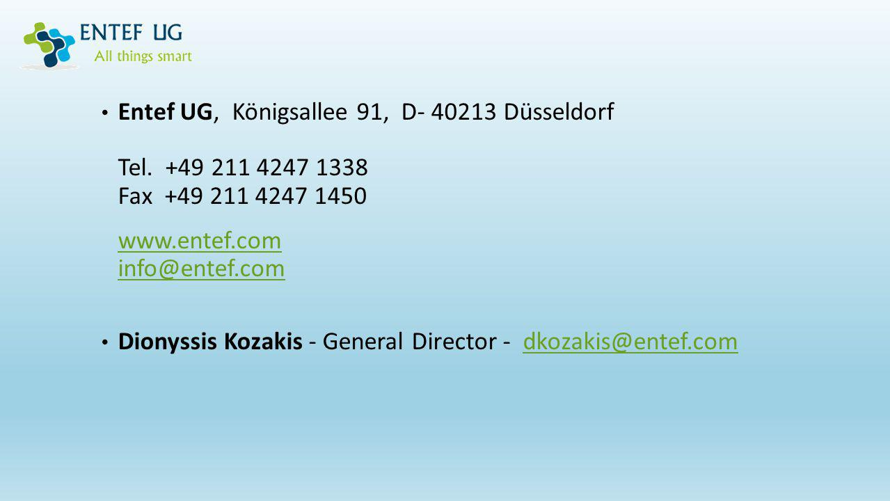 Entef UG, Königsallee 91, D- 40213 Düsseldorf Tel. +49 211 4247 1338 Fax +49 211 4247 1450 www.entef.com info@entef.com Dionyssis Kozakis - General Di