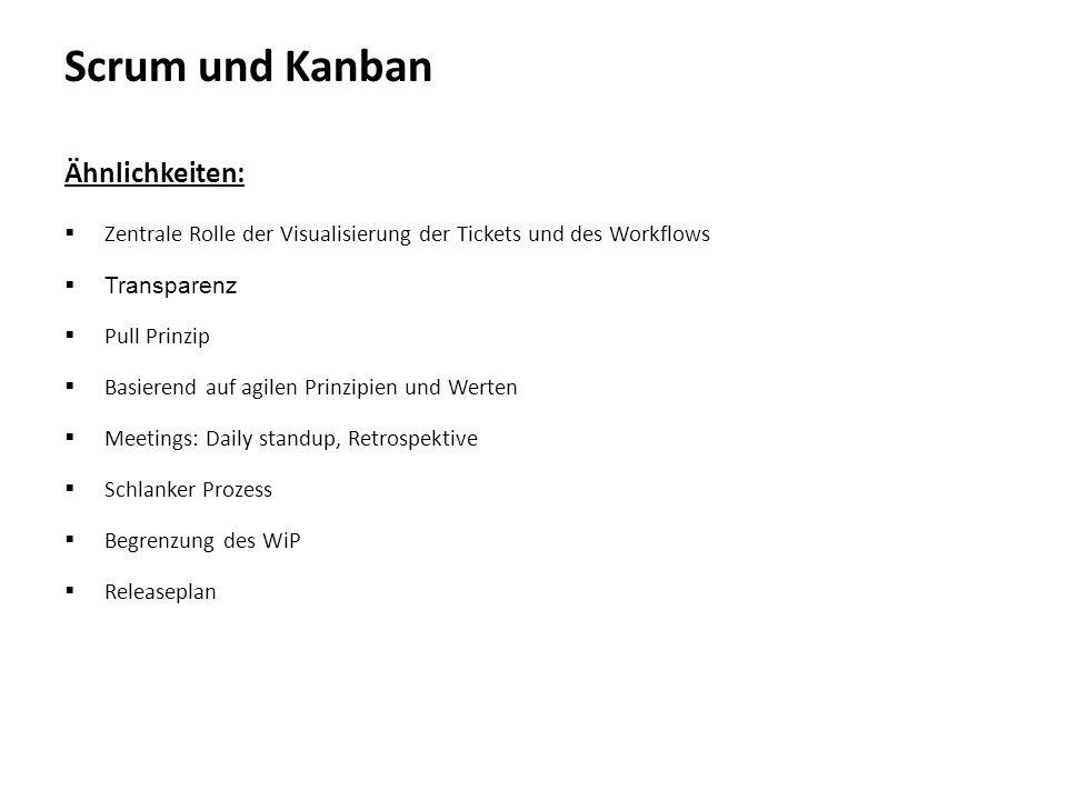 Scrum und Kanban Ähnlichkeiten:  Zentrale Rolle der Visualisierung der Tickets und des Workflows  Transparenz  Pull Prinzip  Basierend auf agilen