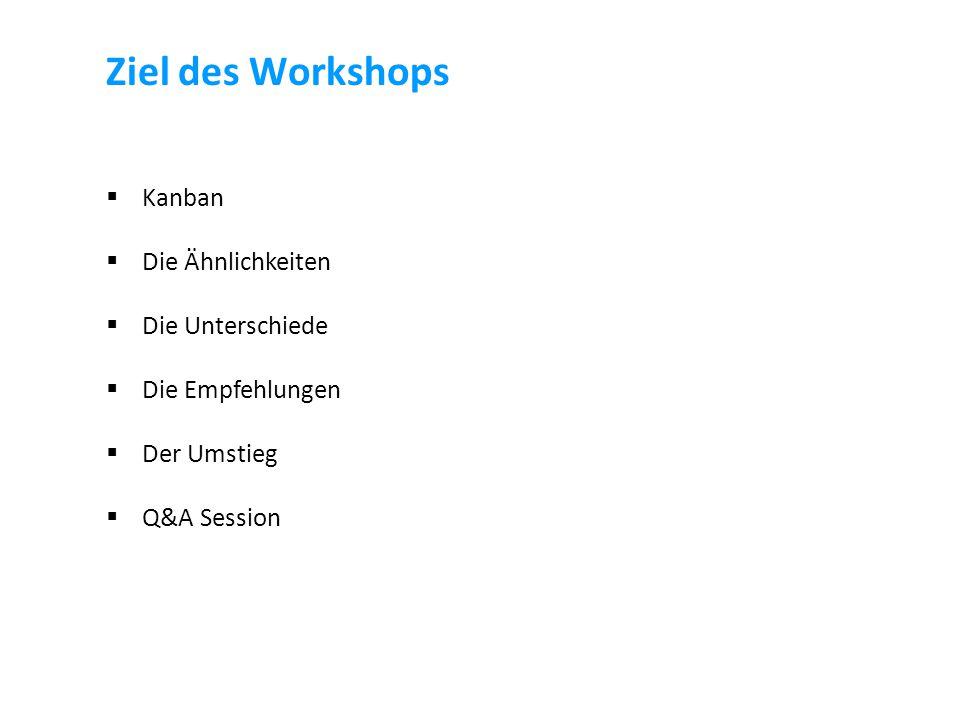 Ziel des Workshops  Kanban  Die Ähnlichkeiten  Die Unterschiede  Die Empfehlungen  Der Umstieg  Q&A Session
