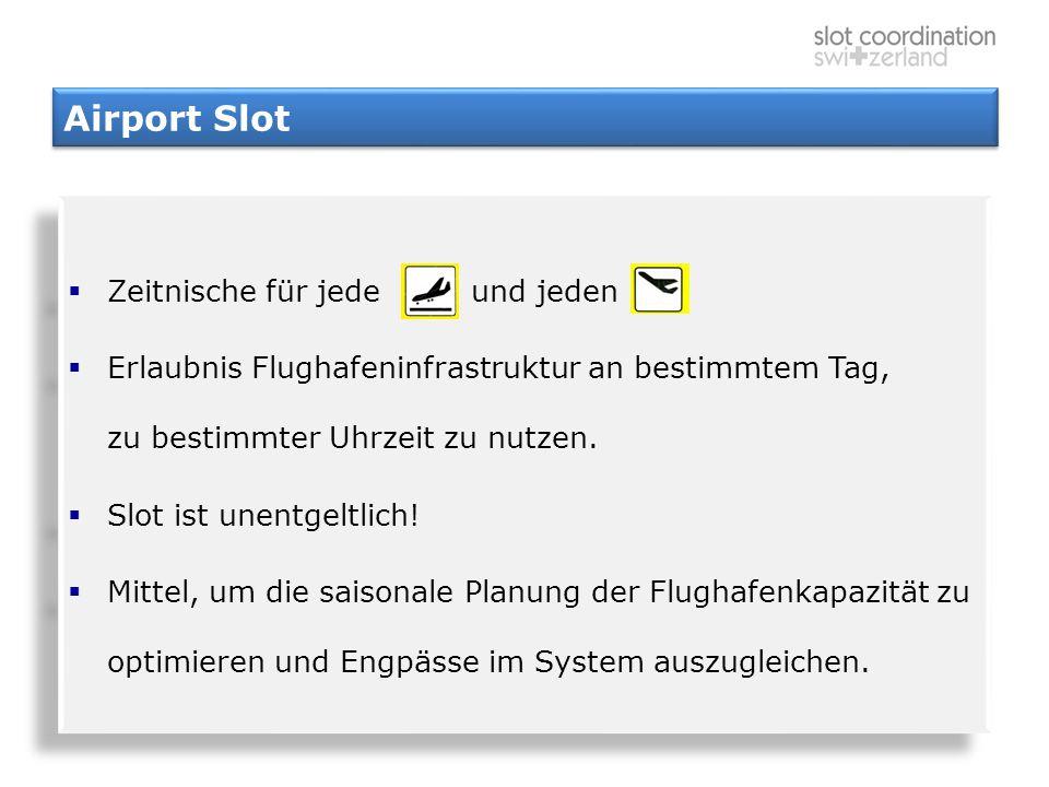 Airport Slot  Zeitnische für jede und jeden  Erlaubnis Flughafeninfrastruktur an bestimmtem Tag, zu bestimmter Uhrzeit zu nutzen.  Slot ist unentge