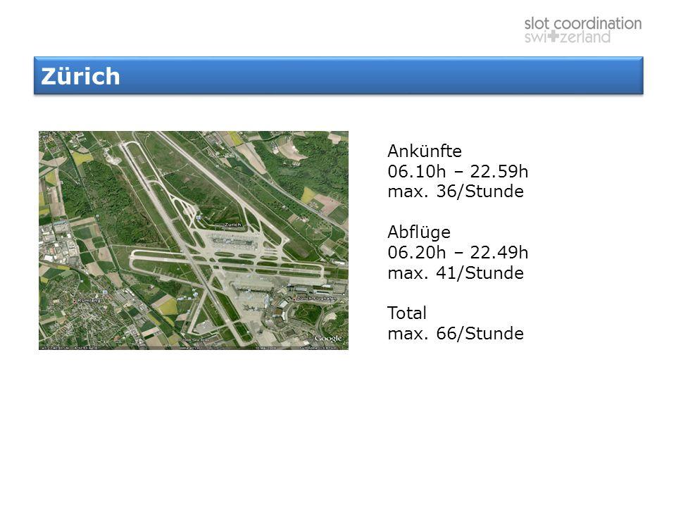 Zürich Ankünfte 06.10h – 22.59h max. 36/Stunde Abflüge 06.20h – 22.49h max. 41/Stunde Total max. 66/Stunde