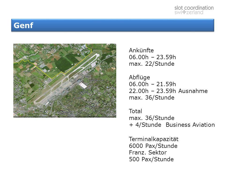 Genf Ankünfte 06.00h – 23.59h max. 22/Stunde Abflüge 06.00h – 21.59h 22.00h – 23.59h Ausnahme max. 36/Stunde Total max. 36/Stunde + 4/Stunde Business
