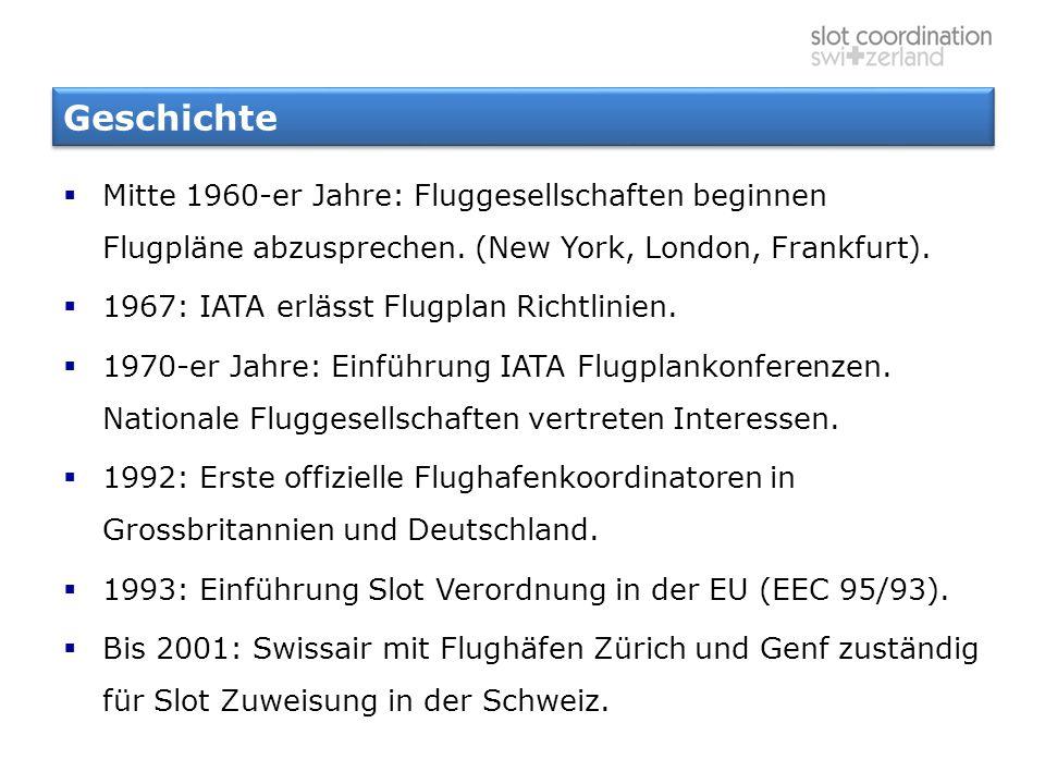 Geschichte  Mitte 1960-er Jahre: Fluggesellschaften beginnen Flugpläne abzusprechen. (New York, London, Frankfurt).  1967: IATA erlässt Flugplan Ric