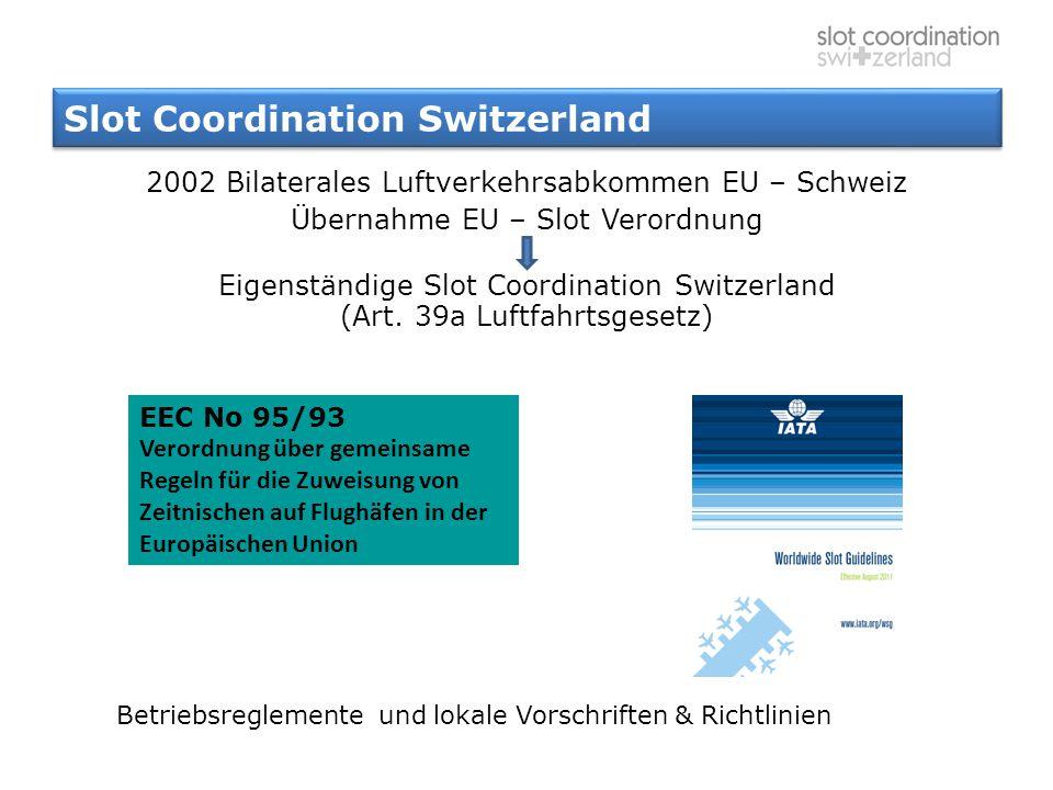 Slot Coordination Switzerland 2002 Bilaterales Luftverkehrsabkommen EU – Schweiz Übernahme EU – Slot Verordnung Eigenständige Slot Coordination Switze