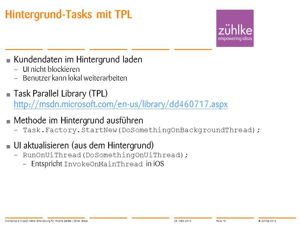 © Zühlke 2013 Kundendaten im Hintergrund laden – UI nicht blockieren – Benutzer kann lokal weiterarbeiten Task Parallel Library (TPL) http://msdn.micr