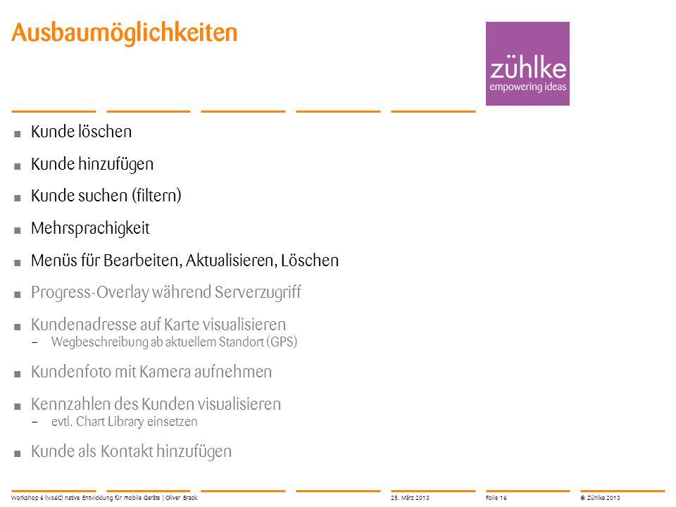 © Zühlke 2013 Kunde löschen Kunde hinzufügen Kunde suchen (filtern) Mehrsprachigkeit Menüs für Bearbeiten, Aktualisieren, Löschen Progress-Overlay wäh