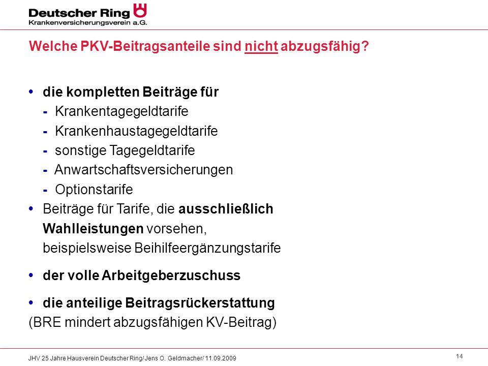 14 JHV 25 Jahre Hausverein Deutscher Ring/ Jens O. Geldmacher/ 11.09.2009 die kompletten Beiträge für - Krankentagegeldtarife - Krankenhaustagegeldtar