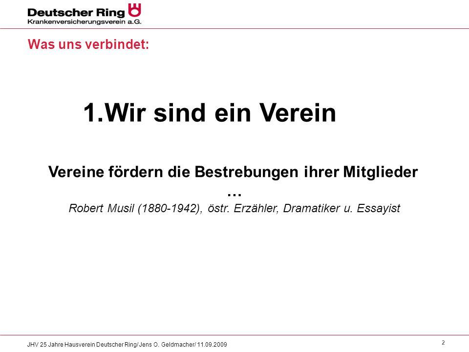 2 JHV 25 Jahre Hausverein Deutscher Ring/ Jens O. Geldmacher/ 11.09.2009 Was uns verbindet: 1.Wir sind ein Verein Vereine fördern die Bestrebungen ihr