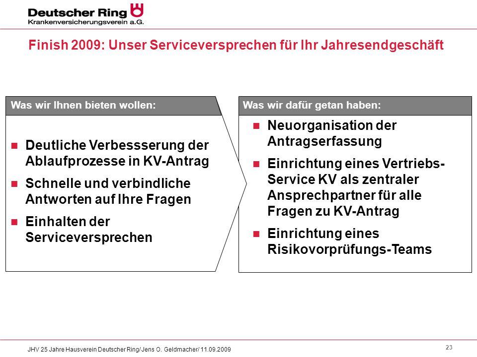 23 JHV 25 Jahre Hausverein Deutscher Ring/ Jens O. Geldmacher/ 11.09.2009 Finish 2009: Unser Serviceversprechen für Ihr Jahresendgeschäft Neuorganisat