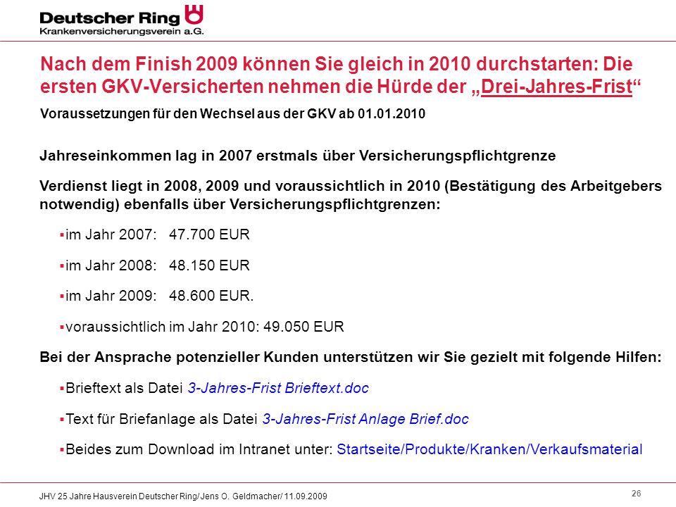 26 JHV 25 Jahre Hausverein Deutscher Ring/ Jens O. Geldmacher/ 11.09.2009 Nach dem Finish 2009 können Sie gleich in 2010 durchstarten: Die ersten GKV-