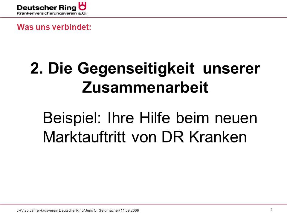 3 JHV 25 Jahre Hausverein Deutscher Ring/ Jens O. Geldmacher/ 11.09.2009 Was uns verbindet: 2. Die Gegenseitigkeit unserer Zusammenarbeit Beispiel: Ih
