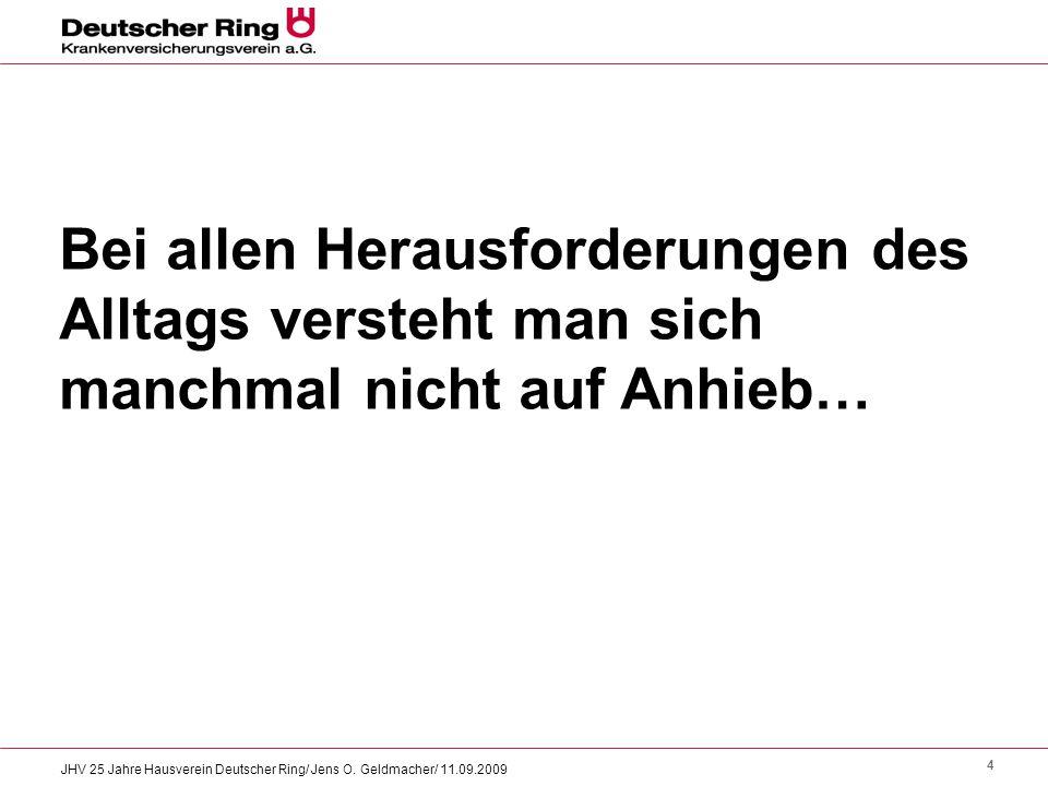 4 JHV 25 Jahre Hausverein Deutscher Ring/ Jens O. Geldmacher/ 11.09.2009 Bei allen Herausforderungen des Alltags versteht man sich manchmal nicht auf