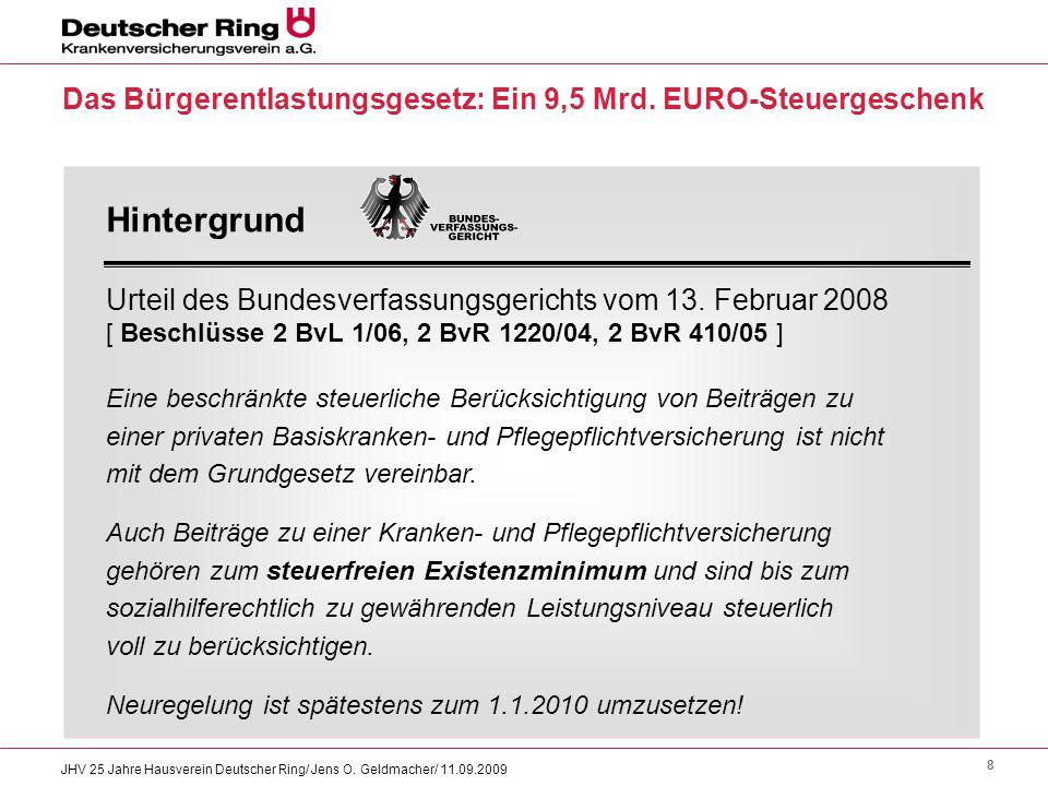8 JHV 25 Jahre Hausverein Deutscher Ring/ Jens O. Geldmacher/ 11.09.2009 Das Bürgerentlastungsgesetz: Ein 9,5 Mrd. EURO-Steuergeschenk Hintergrund Urt