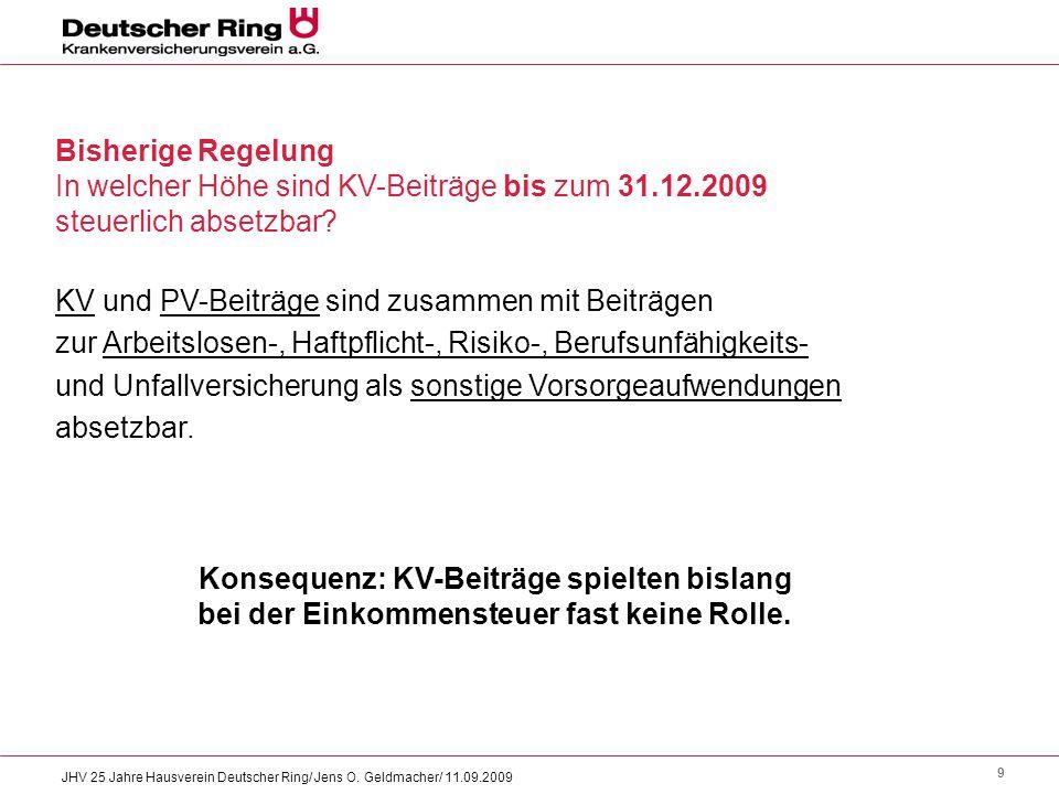 9 JHV 25 Jahre Hausverein Deutscher Ring/ Jens O. Geldmacher/ 11.09.2009 Bisherige Regelung In welcher Höhe sind KV-Beiträge bis zum 31.12.2009 steuer