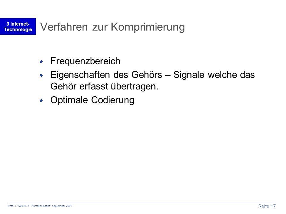 Seite 17 Prof. J. WALTER Kurstitel Stand: september 2002 3 Internet- Technologie Verfahren zur Komprimierung  Frequenzbereich  Eigenschaften des Geh
