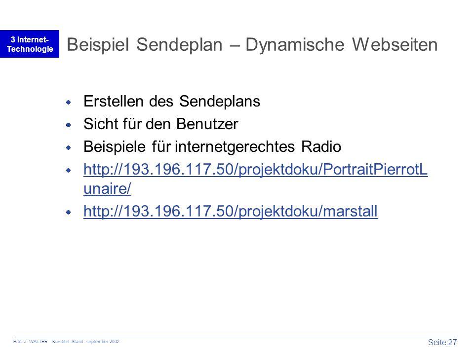 Seite 27 Prof. J. WALTER Kurstitel Stand: september 2002 3 Internet- Technologie Beispiel Sendeplan – Dynamische Webseiten  Erstellen des Sendeplans