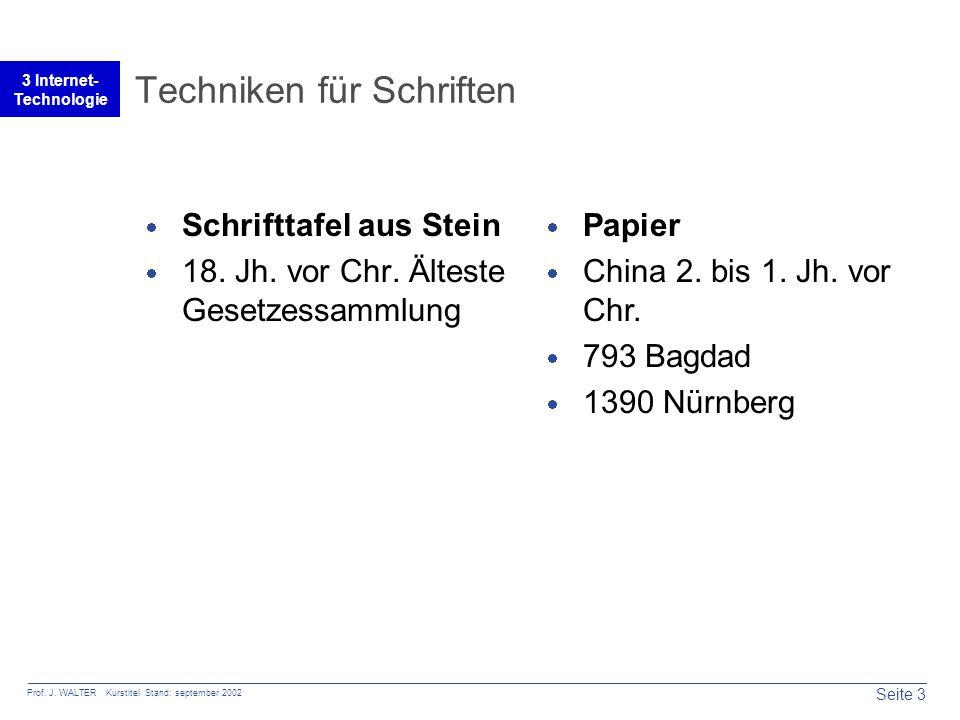 Seite 3 Prof. J. WALTER Kurstitel Stand: september 2002 3 Internet- Technologie Techniken für Schriften  Schrifttafel aus Stein  18. Jh. vor Chr. Äl