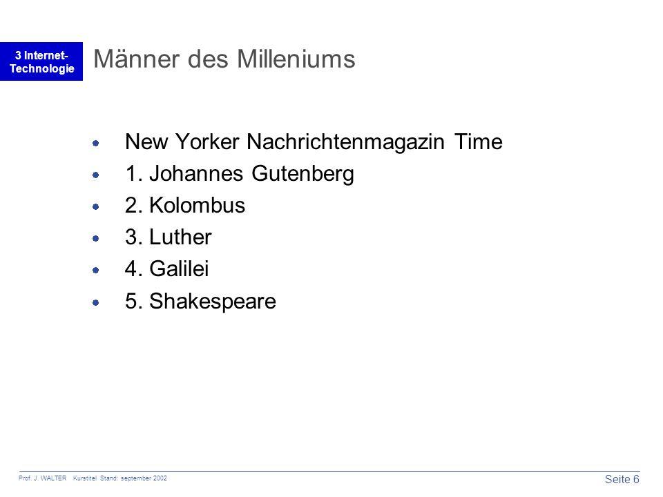Seite 6 Prof. J. WALTER Kurstitel Stand: september 2002 3 Internet- Technologie Männer des Milleniums  New Yorker Nachrichtenmagazin Time  1. Johann