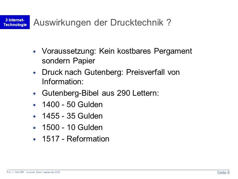 Seite 9 Prof. J. WALTER Kurstitel Stand: september 2002 3 Internet- Technologie Auswirkungen der Drucktechnik ?  Voraussetzung: Kein kostbares Pergam