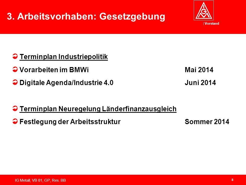 Vorstand IG Metall, VB 01, GP, Res. BB 3. Arbeitsvorhaben: Gesetzgebung Terminplan Industriepolitik Vorarbeiten im BMWiMai 2014 Digitale Agenda/Indust