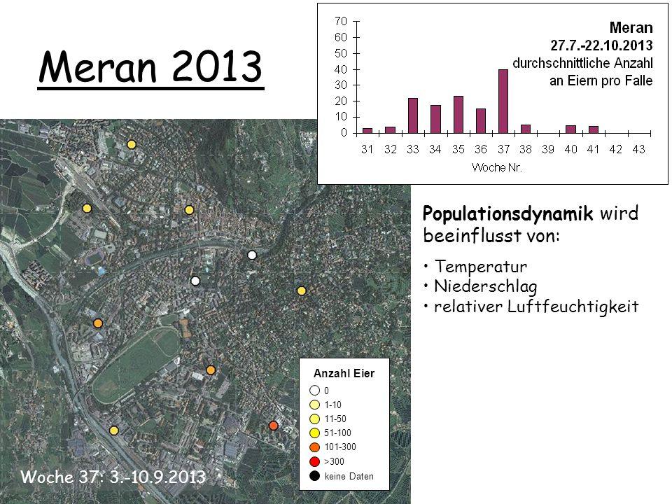 Meran 2013 0 1-10 11-50 51-100 101-300 keine Daten >300 Anzahl Eier Populationsdynamik wird beeinflusst von: Temperatur Niederschlag relativer Luftfeuchtigkeit Woche 37: 3.-10.9.2013