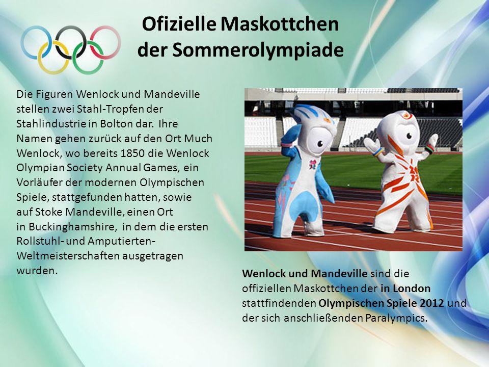 Ofizielle Maskottchen der Sommerolympiade Wenlock und Mandeville sind die offiziellen Maskottchen der in London stattfindenden Olympischen Spiele 2012