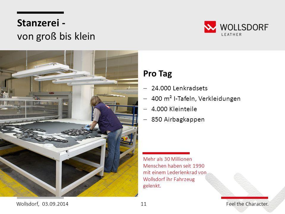 Wollsdorf,Feel the Character. Stanzerei - von groß bis klein Mehr als 30 Millionen Menschen haben seit 1990 mit einem Lederlenkrad von Wollsdorf ihr F