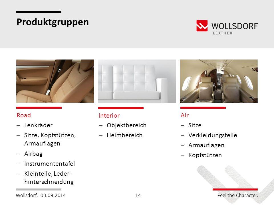Wollsdorf,Feel the Character. Produktgruppen 03.09.2014 Road Interior Air  Lenkräder  Sitze, Kopfstützen, Armauflagen  Airbag  Instrumententafel 