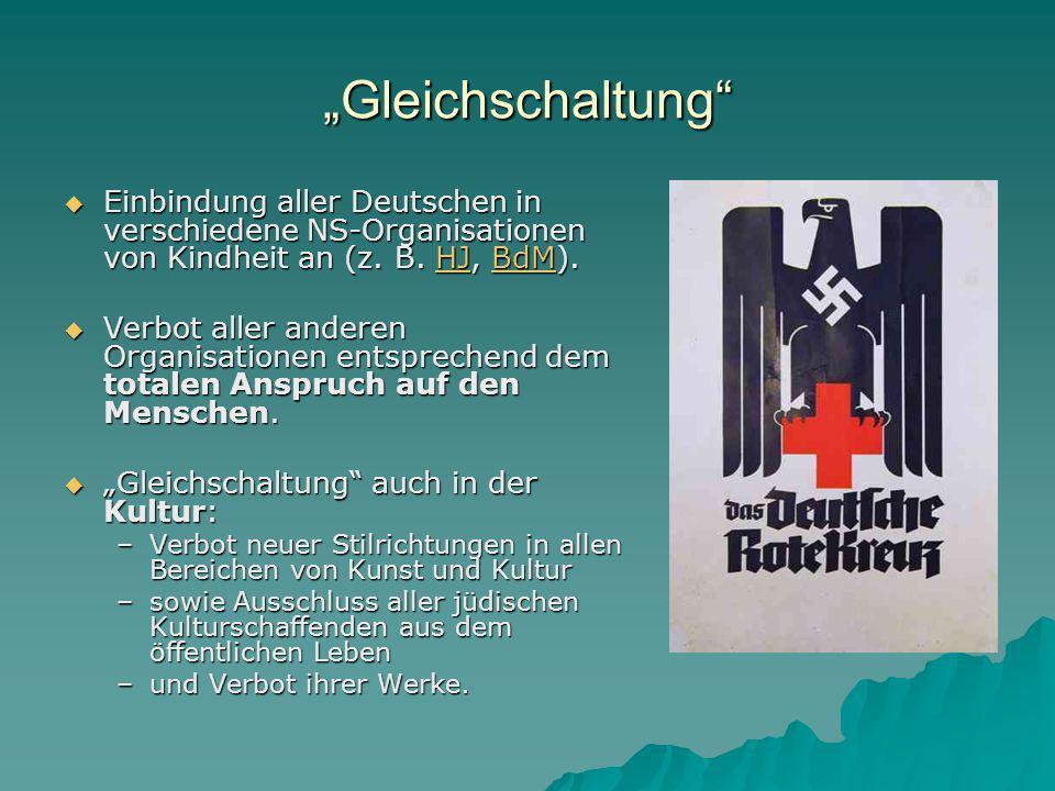 """""""Gleichschaltung  Einbindung aller Deutschen in verschiedene NS-Organisationen von Kindheit an (z."""