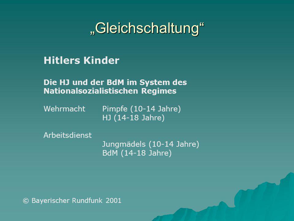 """Hitlers Kinder Die HJ und der BdM im System des Nationalsozialistischen Regimes Wehrmacht Pimpfe (10-14 Jahre) HJ (14-18 Jahre) Arbeitsdienst Jungmädels (10-14 Jahre) BdM (14-18 Jahre) © Bayerischer Rundfunk 2001 """"Gleichschaltung"""