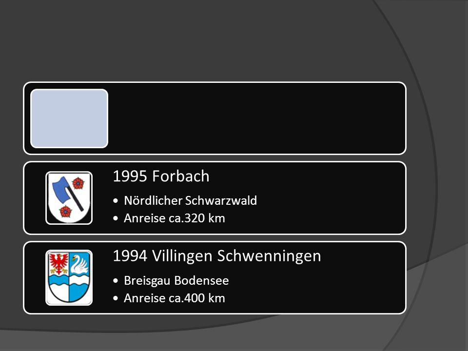 1995 Forbach Nördlicher Schwarzwald Anreise ca.320 km 1994 Villingen Schwenningen Breisgau Bodensee Anreise ca.400 km